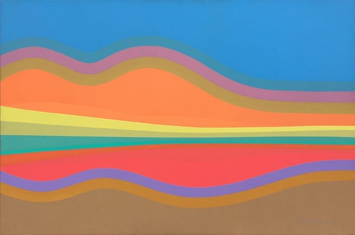 Abstract landscape paintings of streamlined, neon landforms by Cliff Harmon