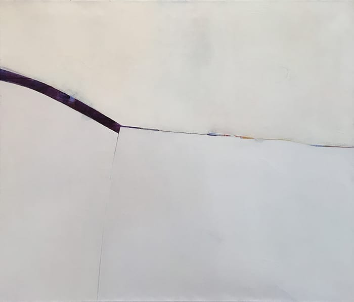 Minimal abstract painting with thick dark red stripe on white background