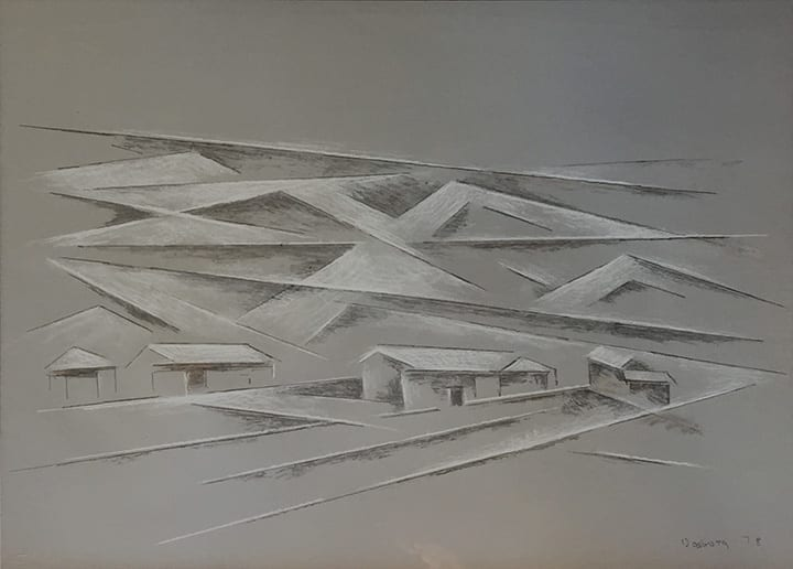 Modernist lithograph of Taos landscape in white and dark gray on gray paper