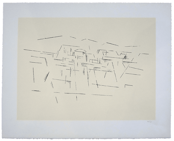 Modernist line drawing of Taos landscape on cream paper
