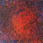 """Spirit Head Swims Red"", 1984<br>30 x 30"", oil on canvas<br>SOLD"