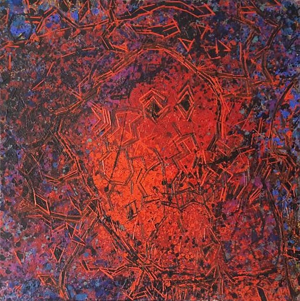 """""""Spirit Head Swims Red"""", 1984<br>30 x 30"""", oil on canvas"""