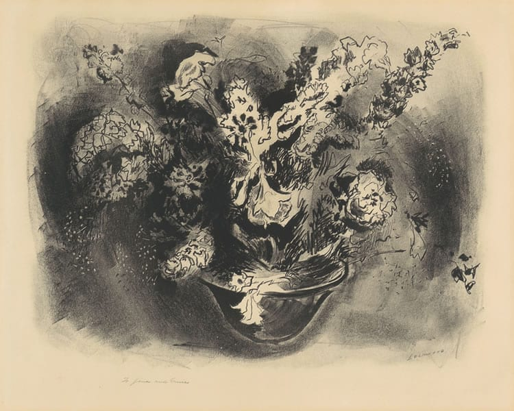 """Untitled Floral"" ,c. 1930s<br/> 14 1/8 x 17 7/8"", charcoal on paper"