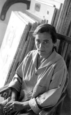 Agnes Martin in her studio