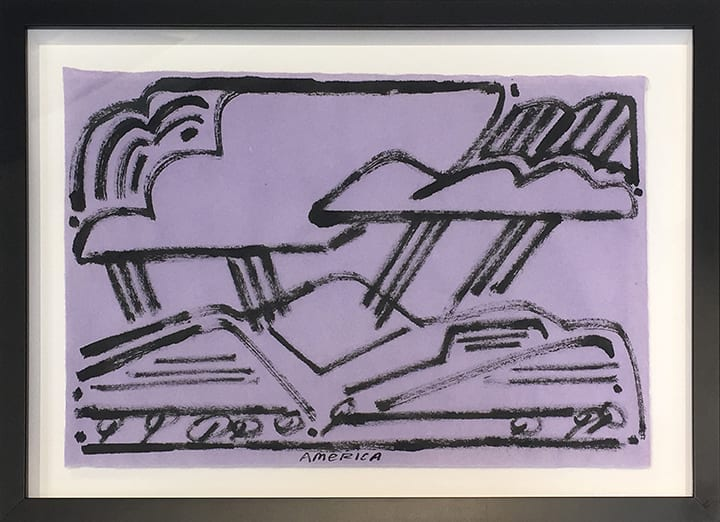 Abstract drawing of mountains and clouds with black lines on purple paper