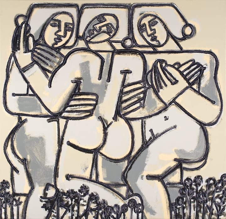 Abstract figurative painting of three women