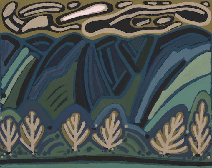 Abstract landscape painting in dark blues, greens, and tan