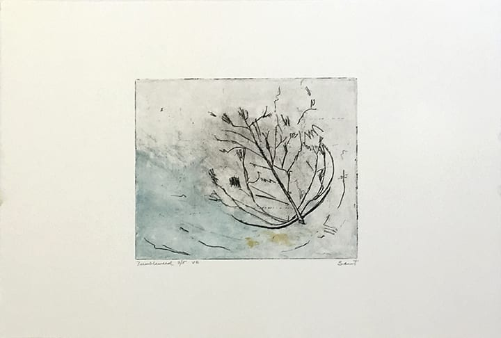 Etching of abstracted tumbleweed on blue background