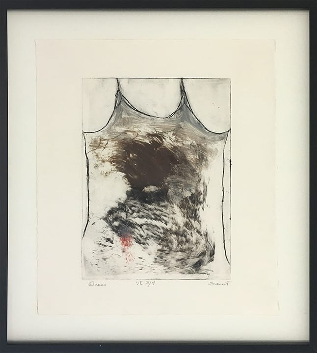 Etching of clothed torso with muddy washes of dark brown
