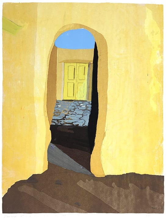 Etching of bright yellow doorway of Martinez Hacienda, Taos