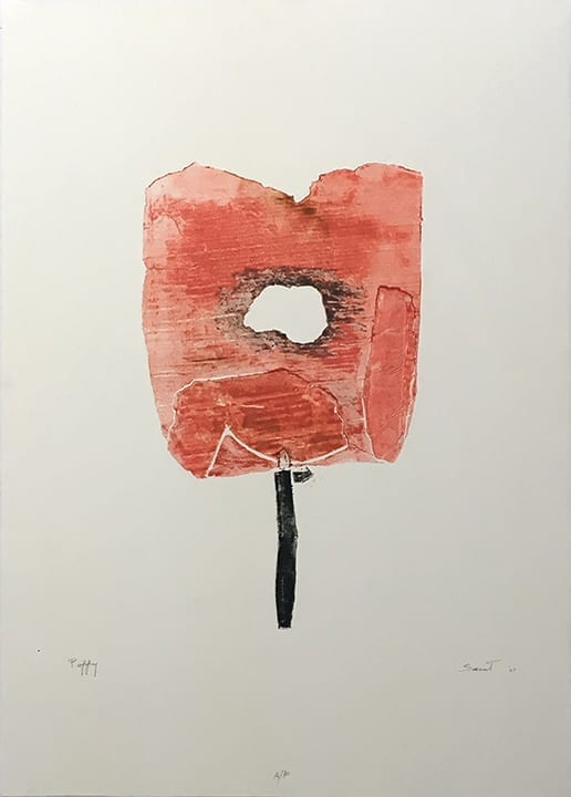 Etching of abstract red poppy on white paper, by Ann Saint John Hawley