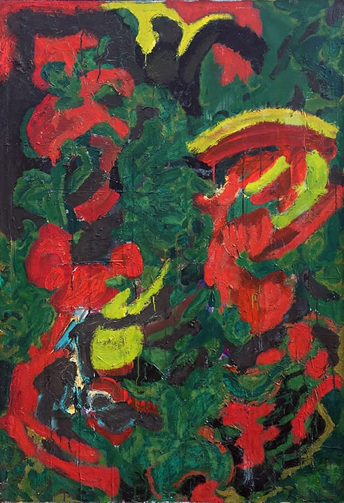 Abstract painting with patches and swirls of red, green and yellow