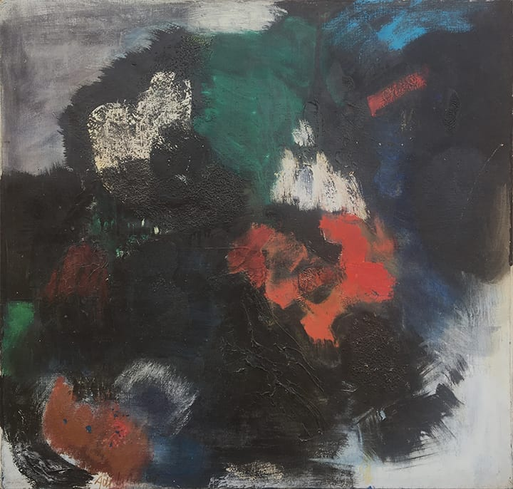Abstract painting in black, gray, dark greens and reds