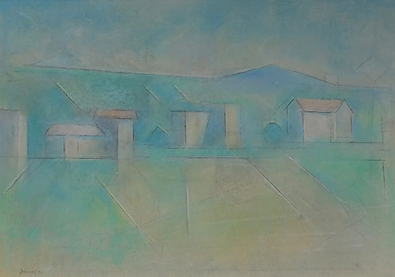 Modernist blue and green pastel drawing of New Mexico buildings and mountains