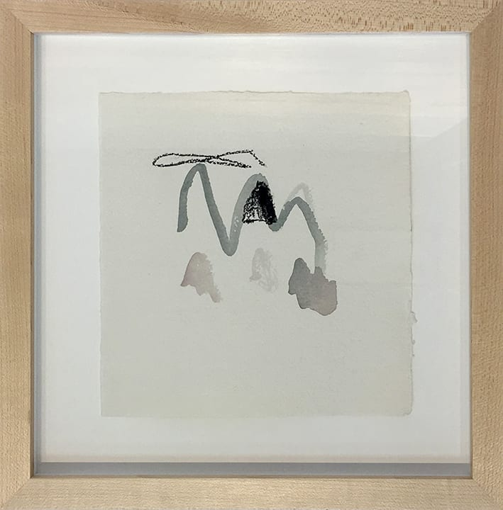 Simple drawing of abstracted mountain on white paper by Courtney Azzara