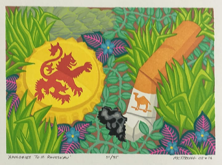 """Apologies to H. Rousseau""<br>4 3/4 x 7"", wood block print on paper ed. 51/95"