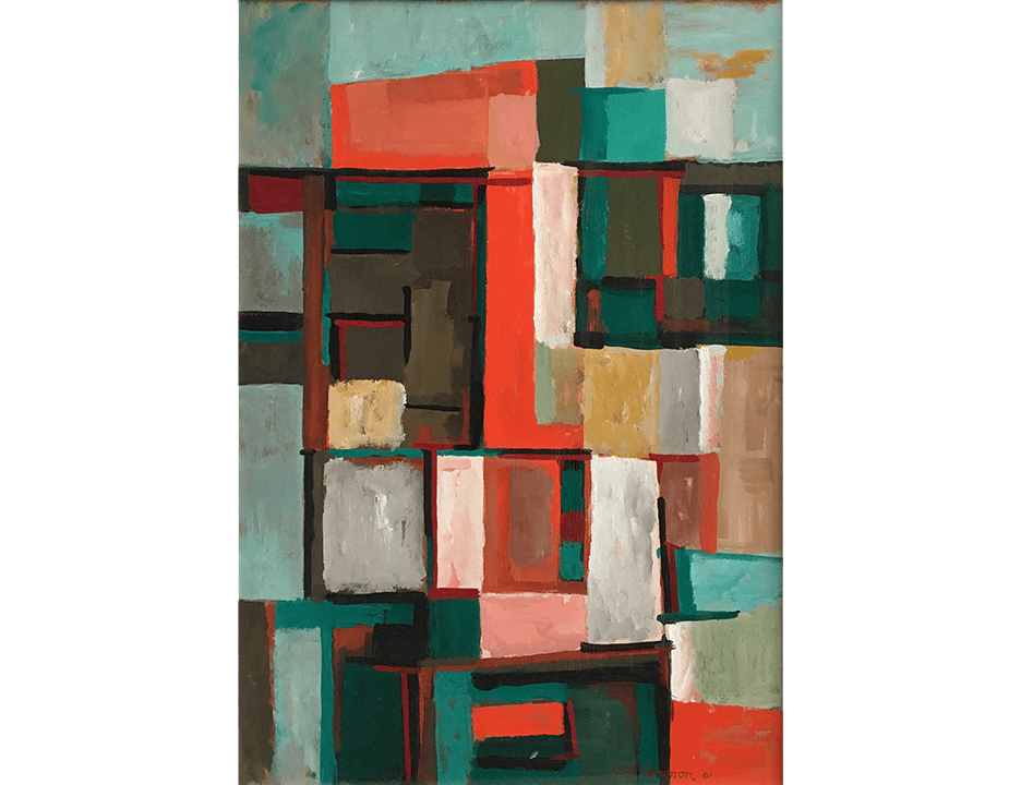 Abstract painting of rectilinear shapes in shades of green and red by Cliff Harmon
