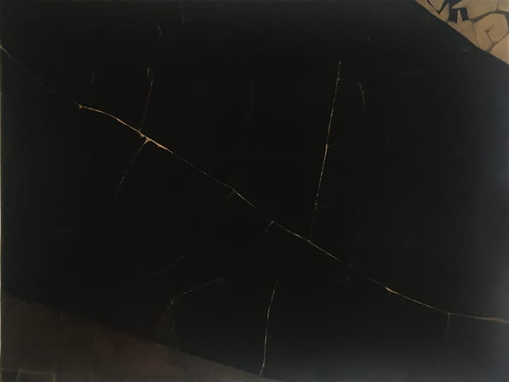 Minimal abstract painting by Edward Corbett with black background criss crossed by faint gold lines
