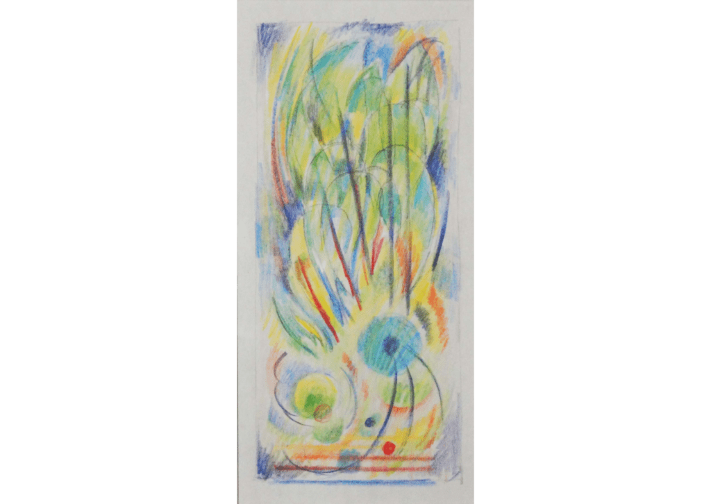 Colored pencil drawing with green, yellow, and red lines radiating from a blue circle