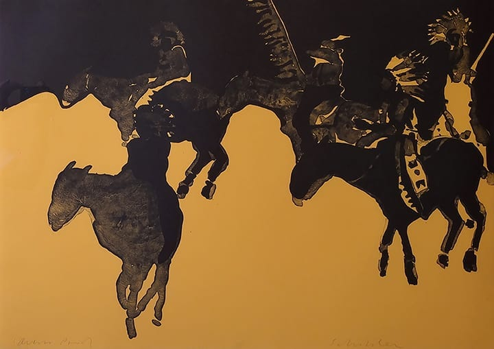 Abstract lithograph of silhouetted horses on mustard background, by Fritz Scholder