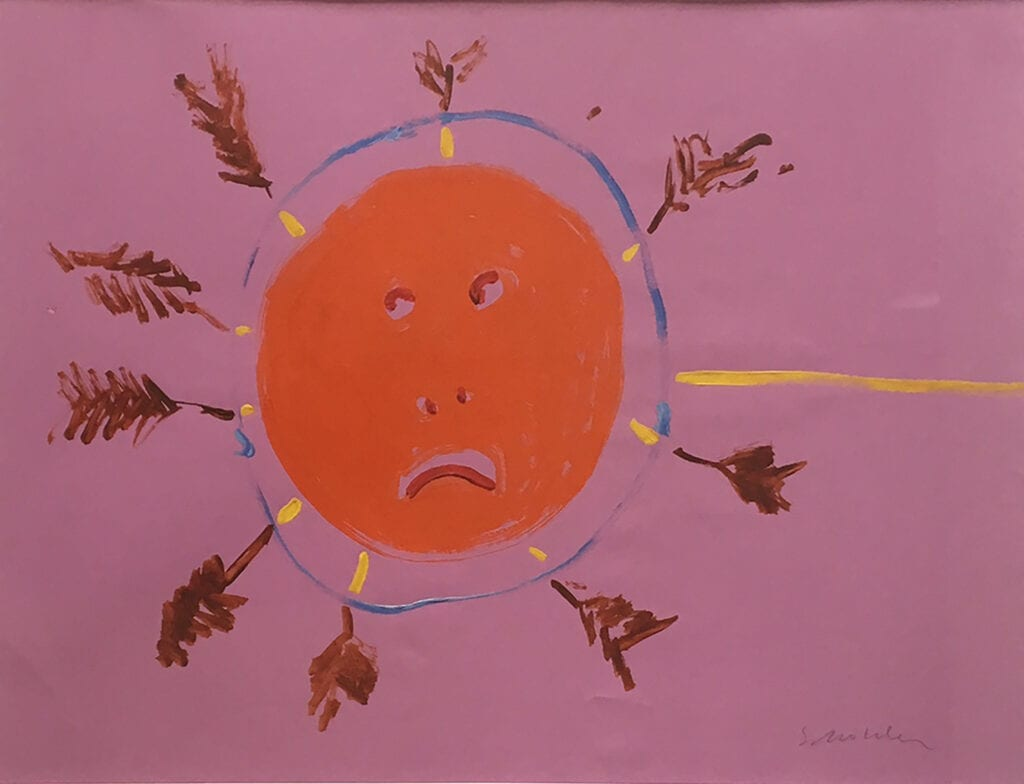 Painting of frowning red face surrounded by radiating arrow fletchings on a fuschia background
