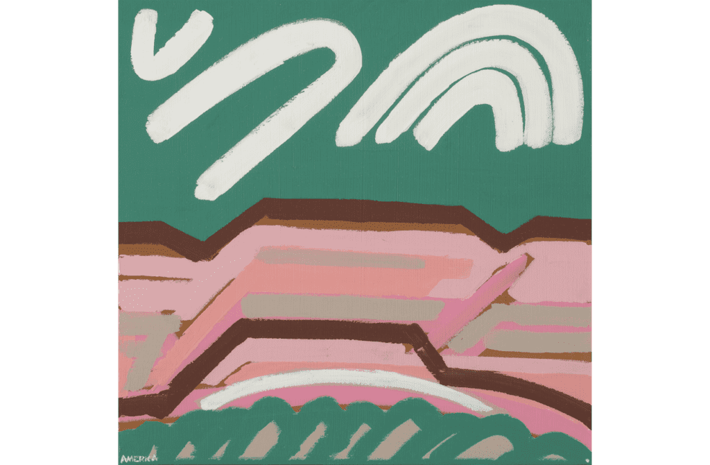 Abstract landscape painting of pink mountains with green sky and white clouds, rendered in simple, thick lines