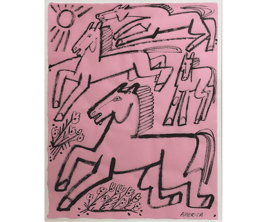 Abstract line drawing of horses on pink paper