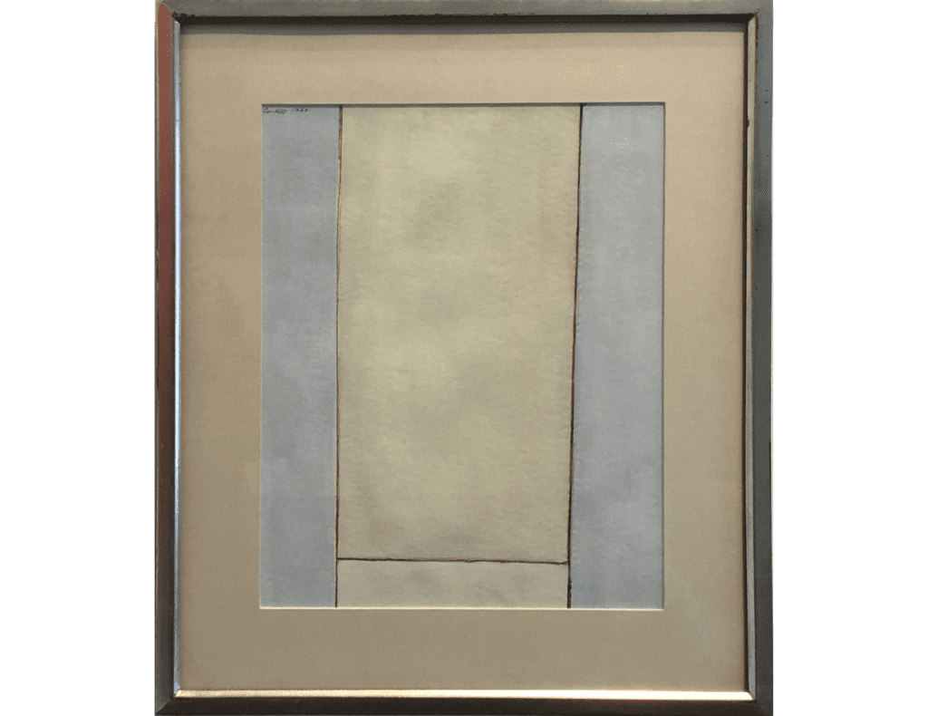 Minimal abstract painting by Edward Corbett of rectangular regions of yellow and blue gray