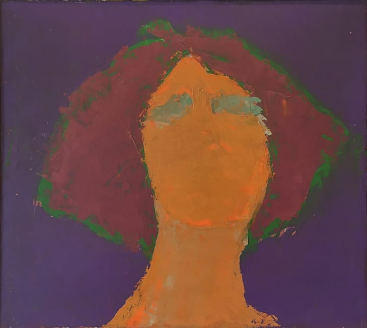 """""""Rough Sketch-Head"""", c. 1960s<br>13 1/2 x 15"""", oil on masonite"""