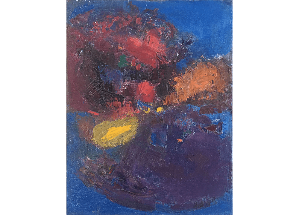 Abstract blue, purple, red and yellow oil painting