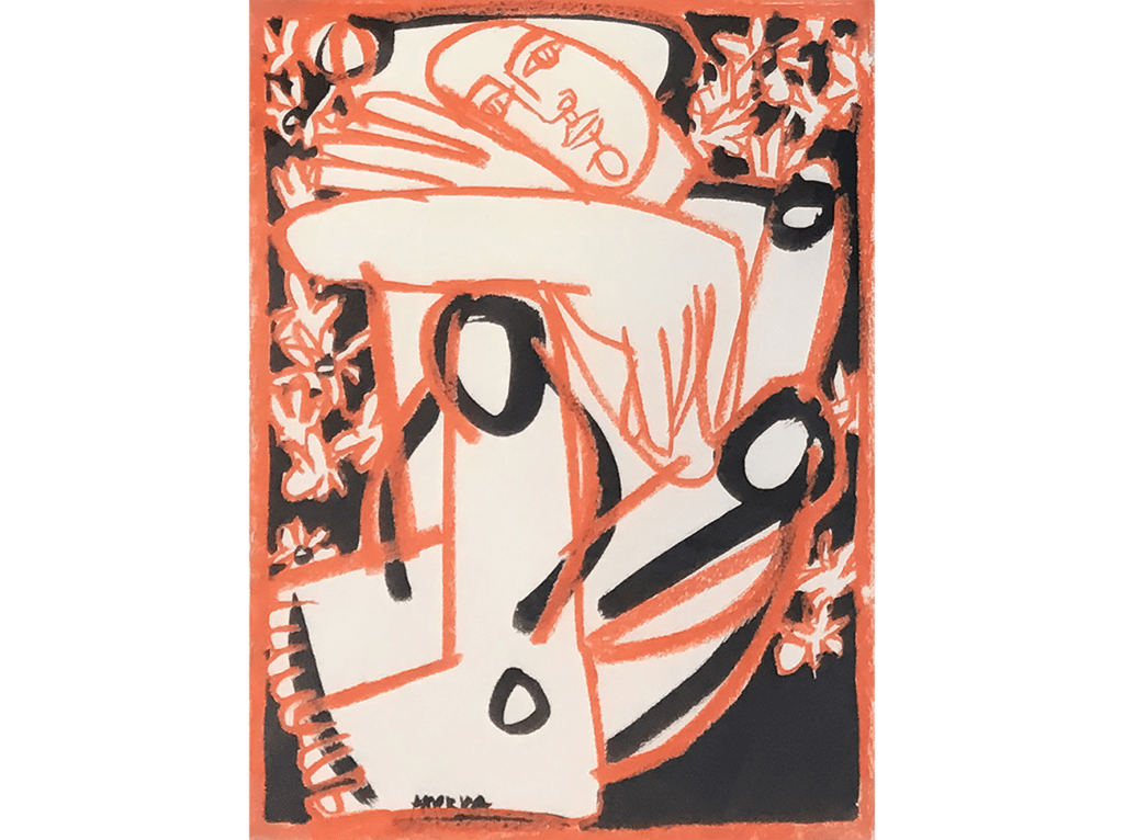 Abstract drawing of a sitting woman surrounded by flowers, in orange and black on white paper