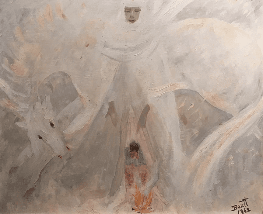 Abstract painting of figure and horse in light white and gray