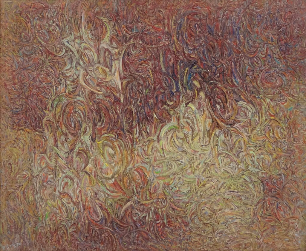 Abstract painting with tan and red, textured surface with tight swirls