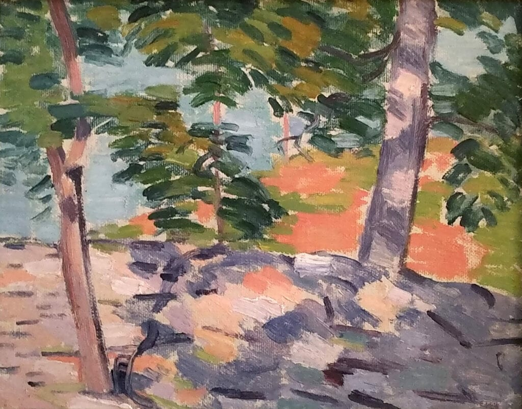 Modernist landscape painting of trees and dappled shade with expressive brushwork