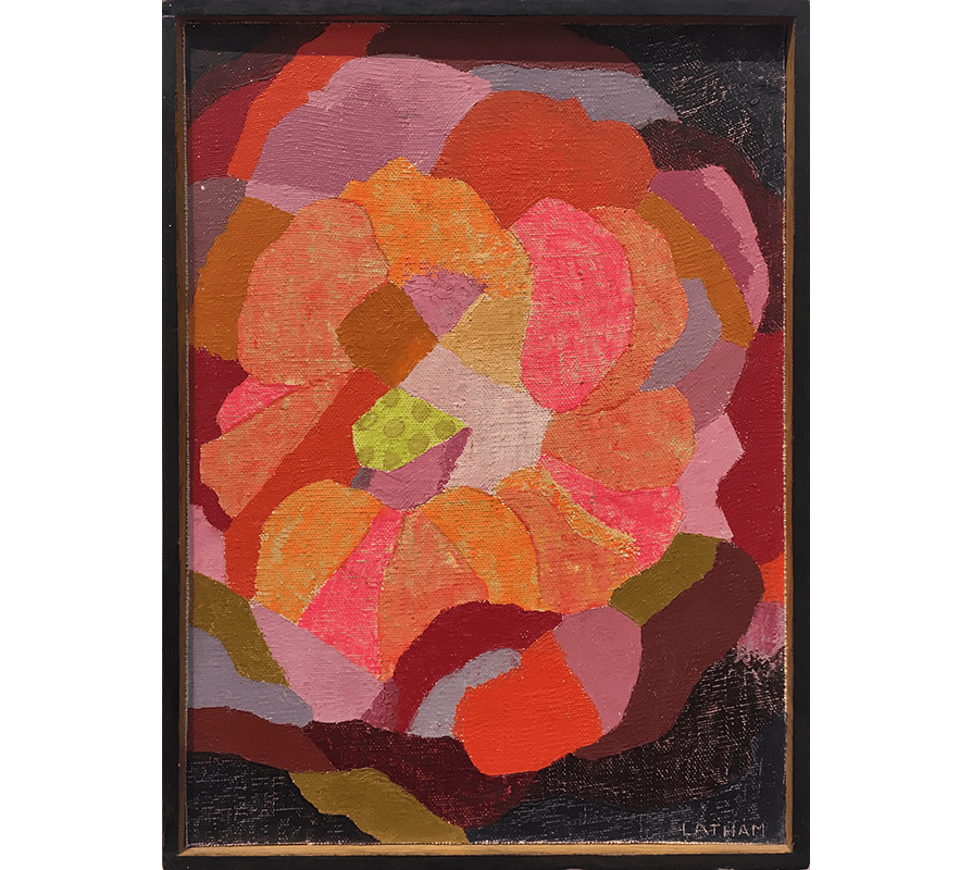 Abstract oil painting in neon and muted shades of pink, orange, and brown by Barbara Latham