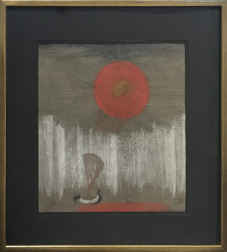 Expressionistic drawing of a white boat and red sun on dark gray paper