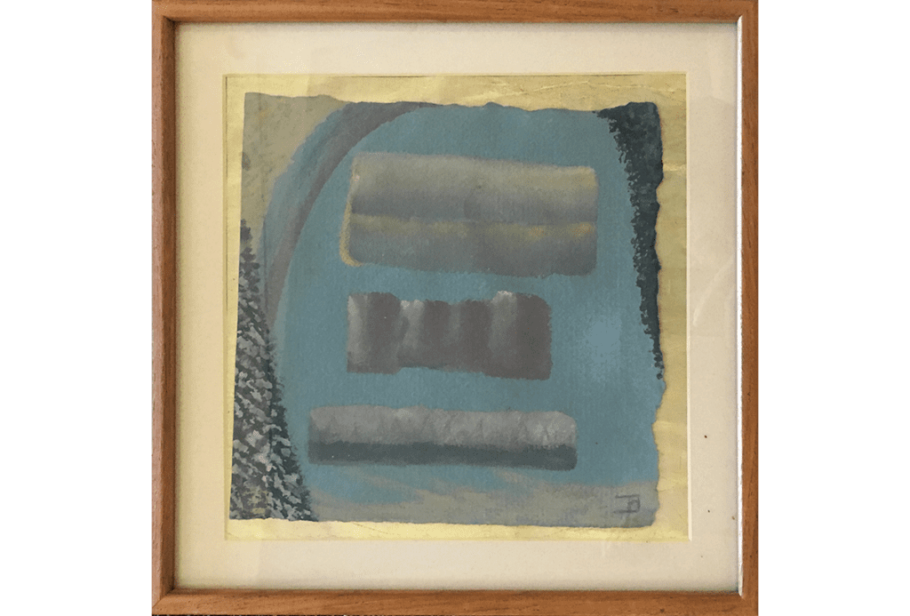 Abstract collage with blue and gray shapes by Bill Bomar