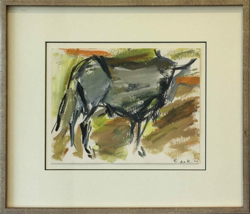 Abstract drawing of bull by Elaine de Kooning in earth tones
