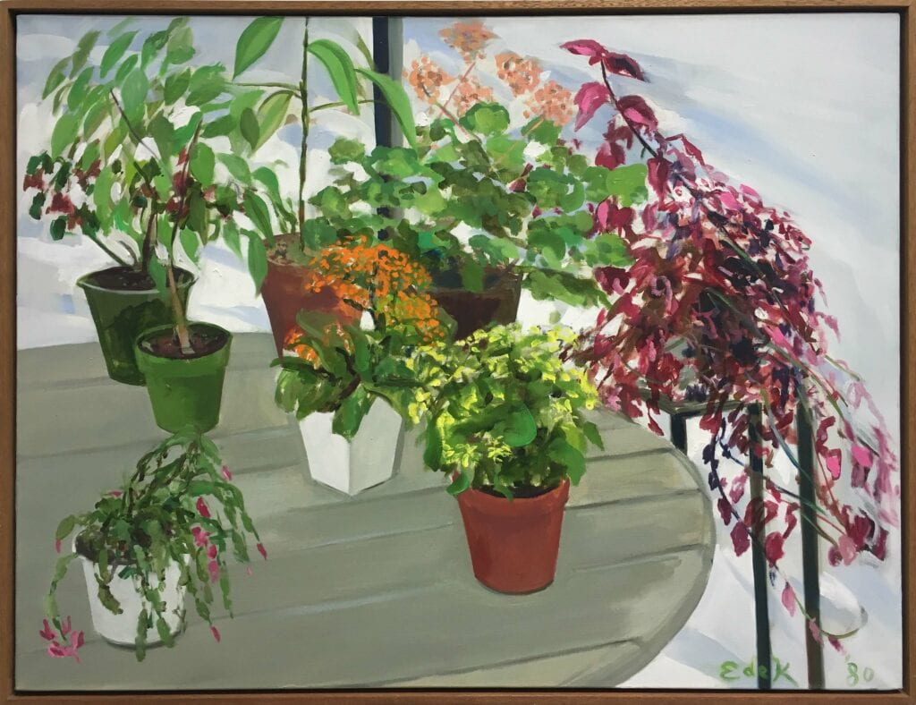 Expressionistic painting of potted plants on a table