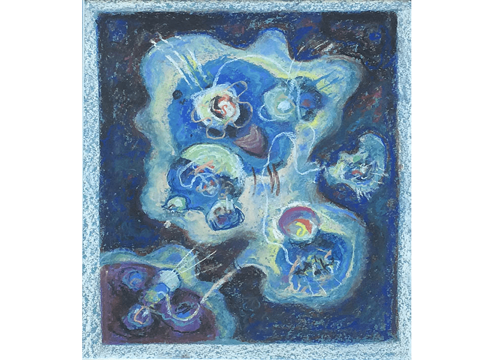 Drawing of organic, amoeba-like shapes in blue pastel