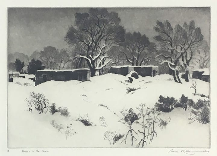 Black and white realistic etching of adobe house with trees and snowy field