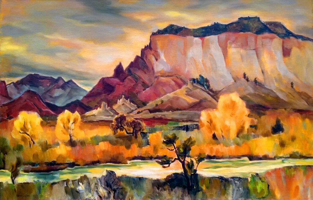 Expressionist oil panting of a cliff rising above the Chama River, New Mexico