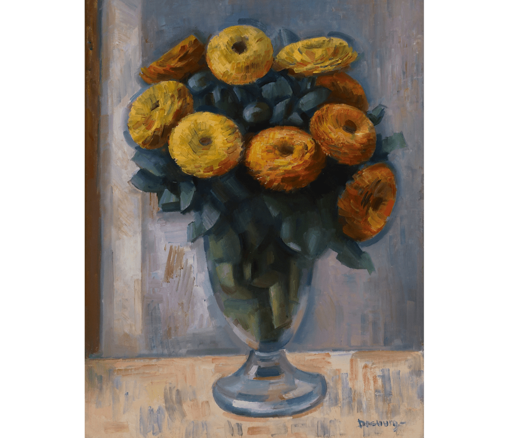 Modernist painting of detailed flowers in a vase, against a blurred background