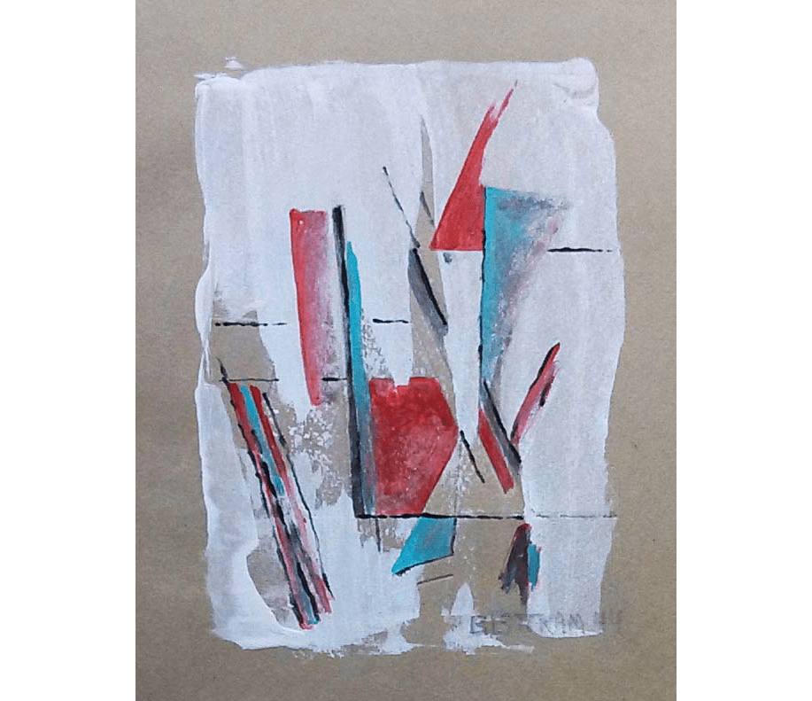 Gouache painting of geometric red and green designs on a white background with brown paper border