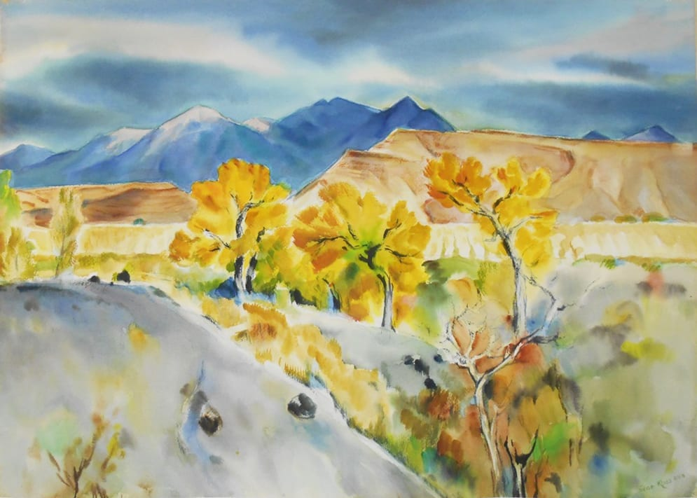 Expressionist watercolor of New Mexico landscape