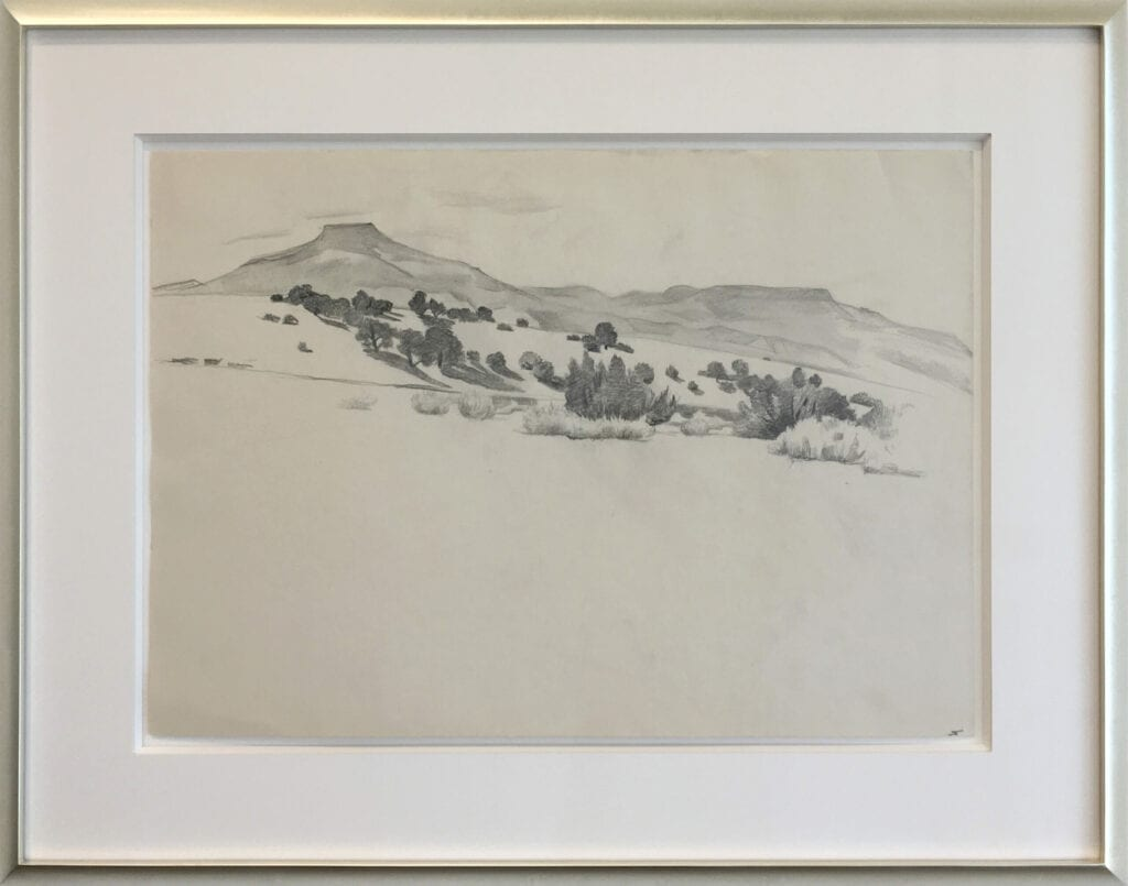 Pencil drawing of Cerro Pedernal, New Mexico by Georgia O'Keeffe