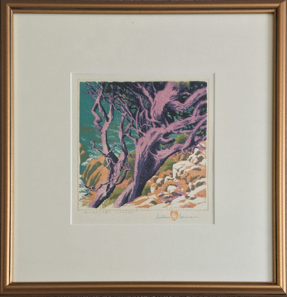 Woodblock print of a cypress, in pink, and the ocean in turquoise