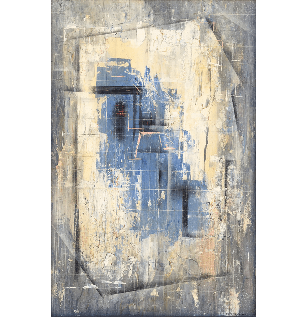 """""""Abstraction in Blue"""", 1952<br/>18 x 12"""", oil on masonite<br>SOLD"""