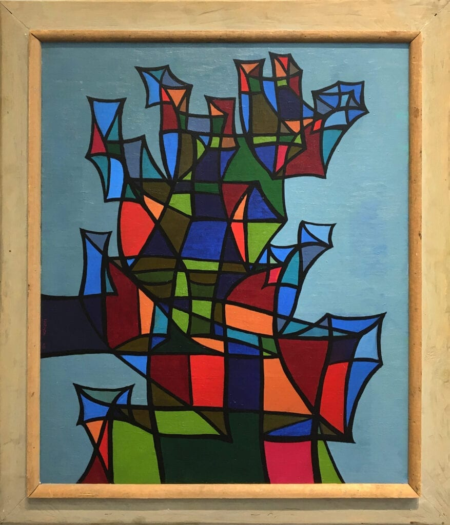 Abstract painting of colorful geometric forms by Cliff Harmon