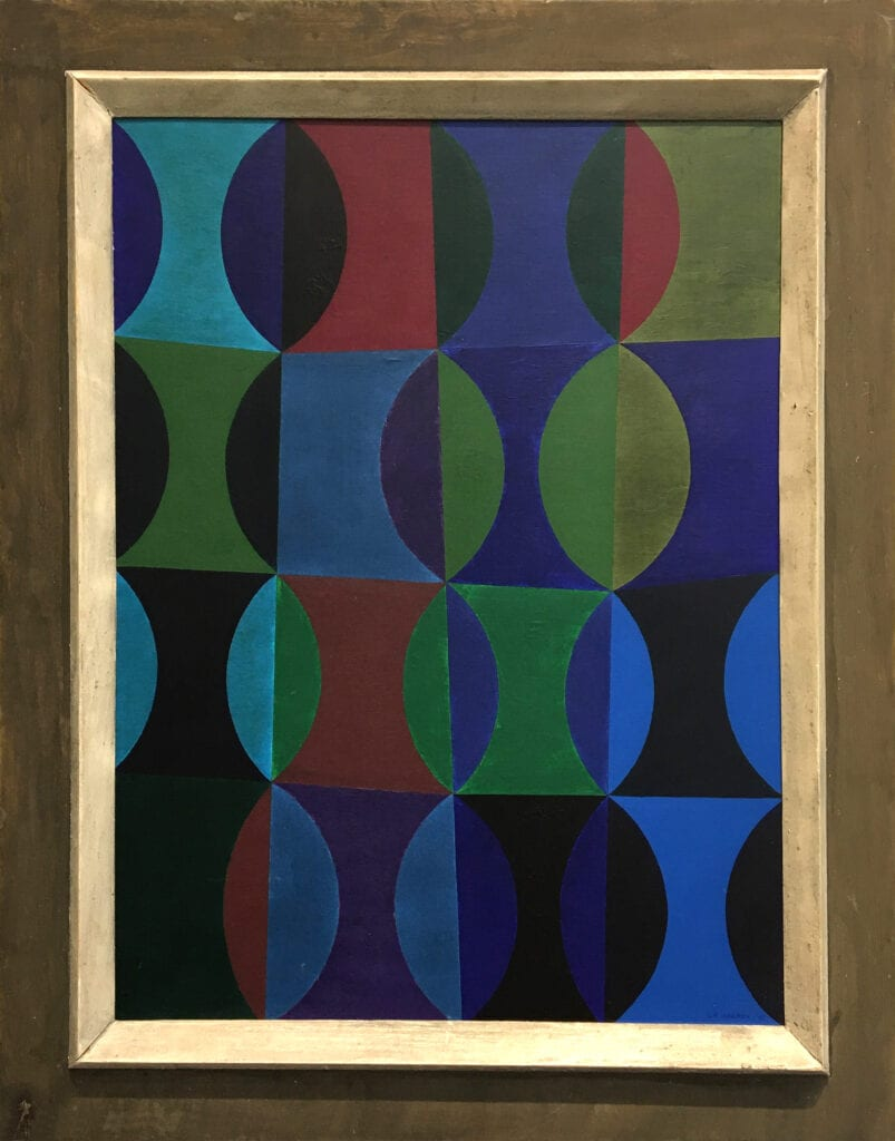 Abstract painting of intersecting semicircles and lines in dark colors